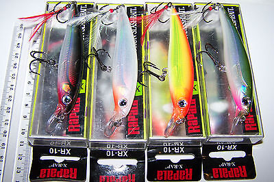 RAPALA FISHING LURES LOT OF 4, XR-10  X-RAP  Suspending lures, Trout, Barra.