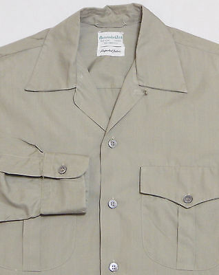 Vtg 50s ABERCROMBIE & FITCH L/S Loop Collar Shirt SMALL Green SAFARI Military
