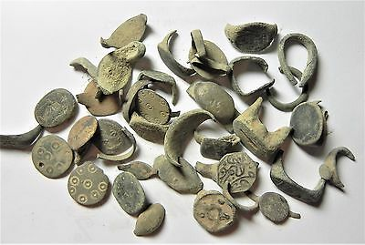 Zurqieh - Ancient Holy Land , Group Of 35 Ancient Bronze Rings- All Broken