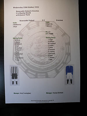 1932 FA Charity Shield Newcastle United v Everton Matchsheet