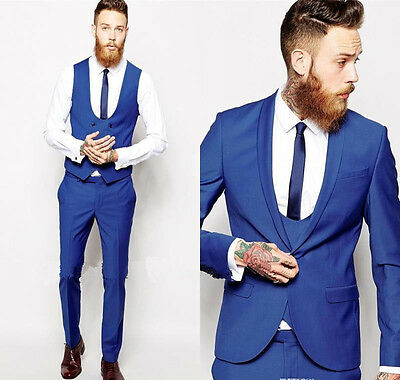 Men's Suits Royal Blue Slim Fit Groom Formal Wedding Suits Tuxedos Custom Made