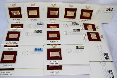 WWII First Day Issue Stamps 22kt Gold Replicas Peacetime Coral Sea Japan Midway