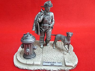 """Fdny """"firefighters Of The World"""" - Very Detailed Pewter Sculpture - 6"""" Approx"""