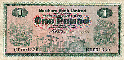 Nothern Bank Limited one pound banknote 1970