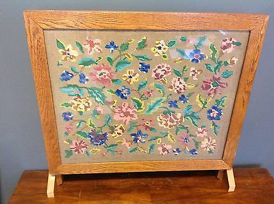 Vintage Quality Oak Framed Firescreen With Embroidered Centre