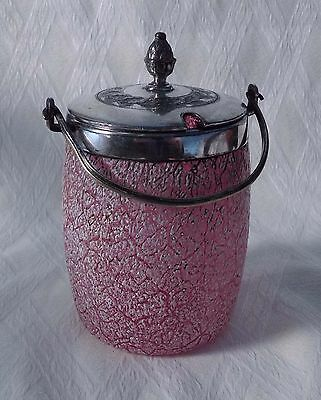 Antique  Cranberry And  Opalescent  Glass Preserve Jar With Silver Plated Top.