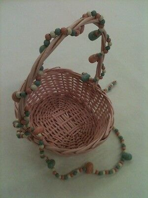 Vintage Pink Wicker Basket With Painted Wood Beads And Eggs