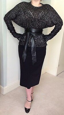 Black Silver Knit Top Mistress 30s 70s 80s CD TV Batwing Vamp Pin Up Couture