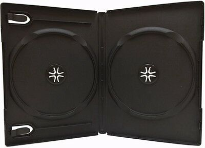 25 Standard 14mm Double DVD Cases, Black, Premium Grade, 2 Disc DVD Cases