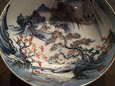 "Antique Meiji Japanese Artist Signed Arita Hizen  8"" x 4""h Footed Porcelain Bowl"