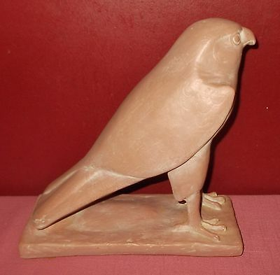 Faux Red Clay Pottery Look HAWK FALCON FIGURINE Eygpt Bird HEAVY Resin