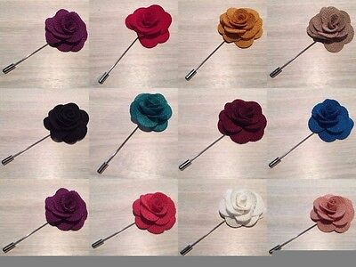 Mens Cloth Lapel Pin Flower - Blazer - Wedding Boutonniere Gift - 12 Colours NEW