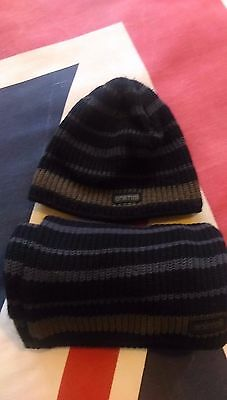 Animal Mens Striped Hat And Scarf Set