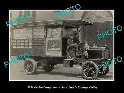 Old Large Historic Photo Of Packard Motors 1911 Delivery Truck, Arbuckle Coffee