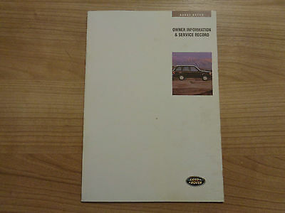 Land Rover/Range Rover Service History Book