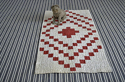 Fantastic Antique Hand Stitched Red and White Dolls Quilt