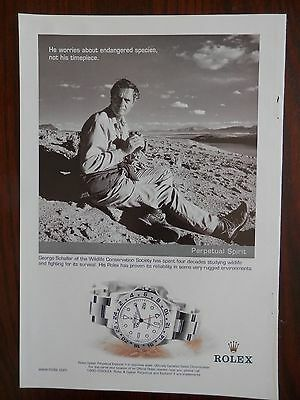 2001 Rolex Watch Print Ad, Explorer ii, George Schiller, Wildlife Conservation