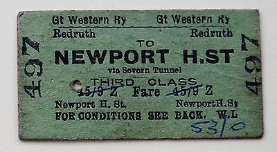 GWR 3rd class single from Redruth to Newport H.St.