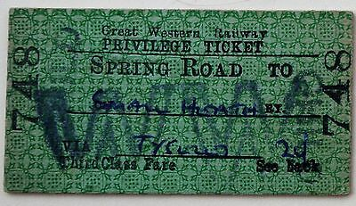 GWR 3rd class privilege single blank card from Spring Road