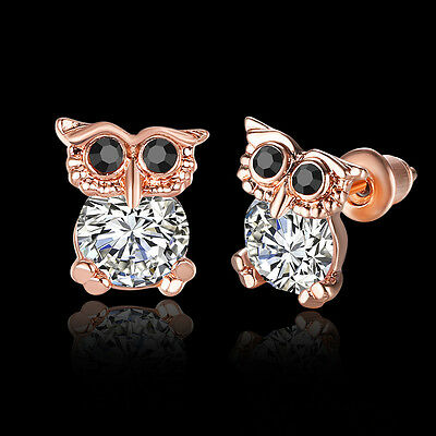 18K Rose Gold Plated Women Fashion Jewelry Elegant Owl Crystal Earrings