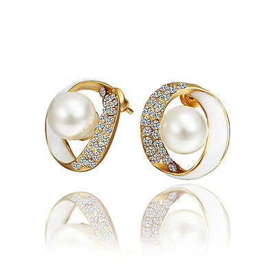 Fashion Women 18K Gold Plated Earring Ear Stud Jewellery Pearl Crystal Wedding