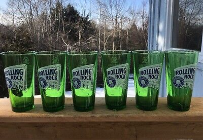 Rolling Rock Extra Pale Premium Beer Glasses Set of 6 Green