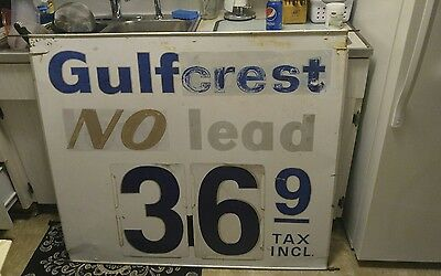 Vintage Original Gulf Gulftane/gulfcrest Gas Station Price Sign 50'' X 35''