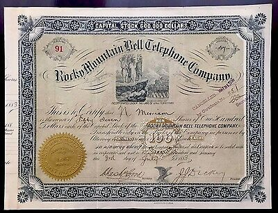 1883 Rocky Mountain Bell Telephone Co. Stock Certificate - UTAH TERRITORY - RARE