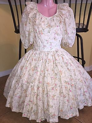 Square Dance 1 Pc Ivory Flower Dress - Small