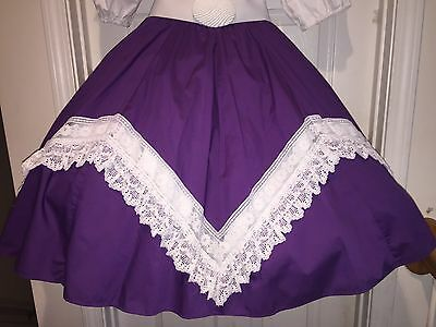 Square Dance Ladies Purple And White Lace Skirt - Small