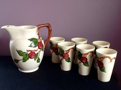 Franciscan Ware Apple Water Pitcher & Tumbler (7) Piece Set RARE 1939 - 1949