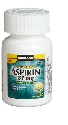 Kirkland Low Dose Aspirin 81mg Enteric Coated NSAID 365 tablets + FREE SHIPPING