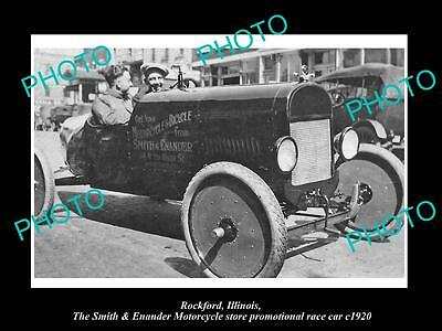OLD LARGE HISTORIC PHOTO OF ROCKFORD ILLINOIS, THE MOTORCYCLE STORE CAR c1920