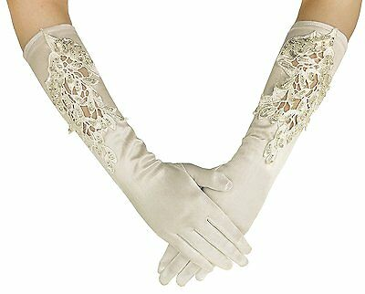 Deceny CB Wedding Gloves for Bride Long Satin Gloves with Beads Embroidered