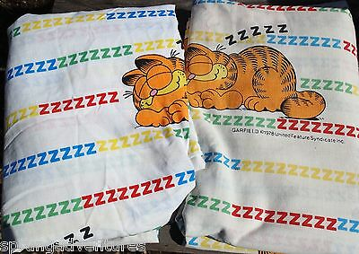 Garfield Sleeping ZZZZ Twin Bed Flat Fitted Sheets Vintage 1978 Fabric Craft