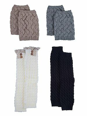Blulu Women Knit Leg Warmers Boot Socks Toppers Crochet Cuffs with Button and 4