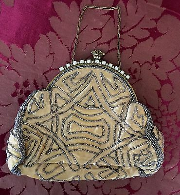 Vintage Silk and Micro Beaded Evening Bag Purse Rhinestone Frame