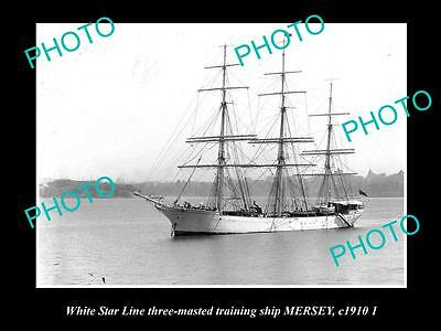 OLD LARGE HISTORIC PHOTO OF THE WHITE STAR LINE TRAINING SHIP, MERSEY c1910 1