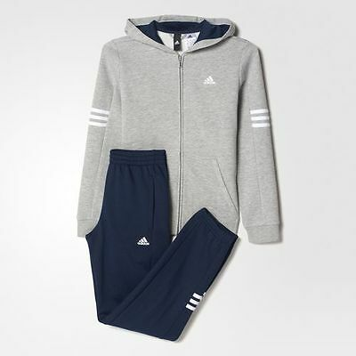 NUEVOS 19994 NIÑOS Track CON CAPUCHA Adidas Hojo Fleece Track Suit Gray Gray Nave and White e46724a - temperaturamning.website
