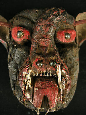 Mexican Diablo, Devil Mask, Very Old And Used, With Scorpion