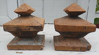 "2 Hand Carved Vintage Primitive Wooden Finials - Geometric - 4"" Tall"