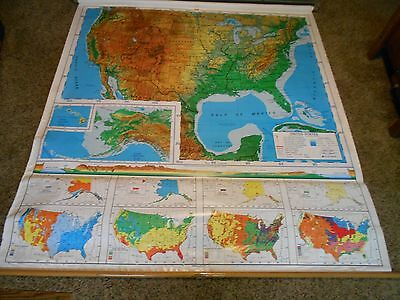 Old Nystrom 2 layer School Pull Down Map USA United States AND The World