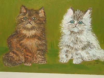 Signed Cute Cat's Kittens Painting