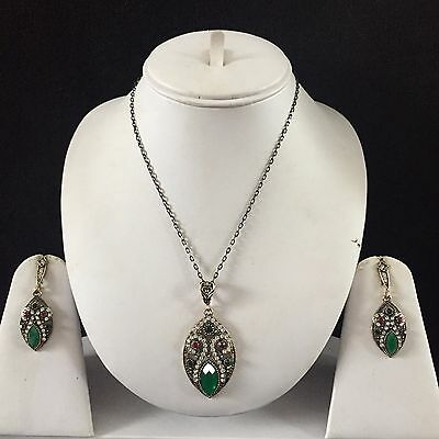 Green Gold Vintage Mughal Costume Jewellery Pendant Necklace Earrings Set New