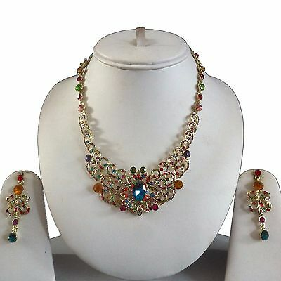 Multi Gold Indian Costume Jewellery Necklace Earrings Crystal Set Bridal New
