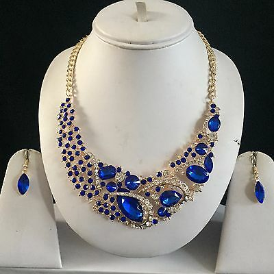 Blue Gold Indian Costume Jewellery Necklace Earrings Diamond Set Bridal New Gift