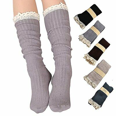 Roniky 5 Pack Women Cotton Crochet Boot Socks with Lace Trim Knit Knee High 5