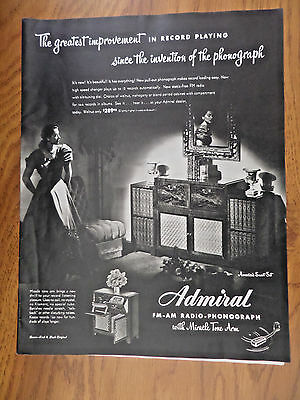 1947 Admiral FM AM Radio Phonograph Miracle Tone Arm Ad
