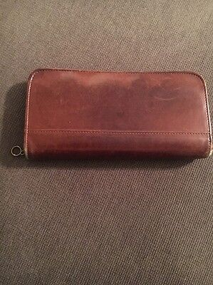 Vintage Coach Brown Distressed Leather Long Zip Around Wallet READ