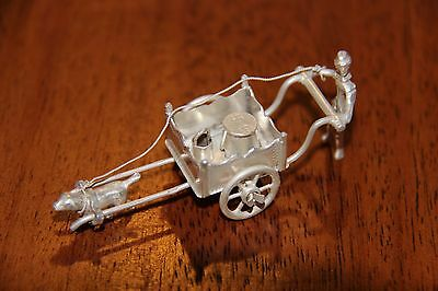 Dutch Silver Miniature Figurine - Man with Dog Cart